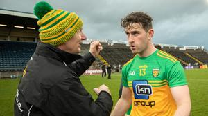 Aiming high: Donegal boss Declan Bonner, with Paddy McBrearty after last year's Ulster semi-final. is particularly keen to see his side reach a new high this time around