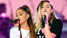 Ariana Grande (left) and Miley Cyrus (right) performing during the One Love Manchester benefit concert for the victims of the Manchester Arena terror attack. (Dave Hogan for One Love Manchester/PA Wire)
