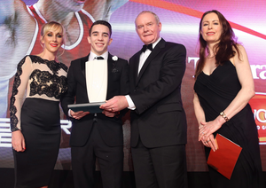 Glory boy: Our Sports Star of the Year, World amateur champion boxer Michael Conlan picks up the award from Deputy First Minister Martin McGuinness and Belfast Telegraph editor Gail Walker along with Sarah Shimmons Head of Marketing from title sponsors Linwoods