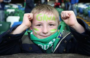 Northern Ireland fan Daniel Gracey (5) Ballymoney during Monday night's UEFA EURO 2016 Group  F Qualifier at the National Football Stadium, Windsor Park, Belfast. Picture by Brian Little/Presseye