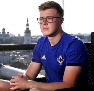 Playing for keeps: Northern Group C Ireland goalkeeper Bailey Peacock-Farrell at the team hotel in Tallinn ahead of Saturday night's Euro 2020 Qualifier in Estonia