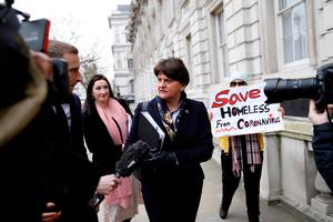 Northern Ireland's First Minister, and Leader of the DUP, Arlene Foster arrives at Downing Street in central London on March 9, 2020, ahead of an emergency Cobra meeting into UK's developing coronavirus COVID-19 situation. (Photo by TOLGA AKMEN/AFP via Getty Images)
