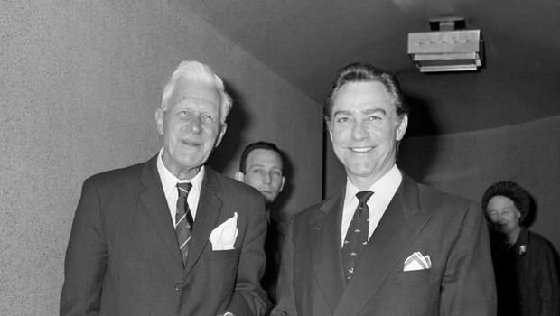 Barnes Wallis with the star of The Dam Busters, Richard Todd (PA)