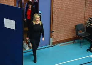 Sinn Fein's Michelle ONeill arrives at the count centre with candidates Ian Milne and Linda Dillon. Picture By: Arthur Allison. Pacemaker