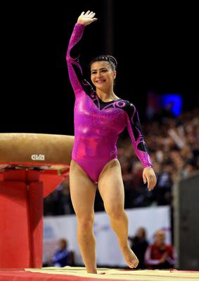 Claudia Fragapane waves to the crowd after completing the vault during the Artistic Gymnastics British Championships 2016 at the Echo Arena, Liverpool. PRESS ASSOCIATION Photo. Picture date: Saturday April 9, 2016. See PA story GYMNASTICS Liverpool. Photo credit should read: Nigel French/PA Wire. RESTRICTIONS: EDITORIAL USE ONLY, NO COMMERCIAL USE WITHOUT PRIOR PERMISSION, PLEASE CONTACT PA IMAGES FOR FURTHER INFO: Tel: +44 (0) 115 8447447.