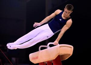 Max Whitlock on the pommel horse during the Artistic Gymnastics British Championships 2016 at the Echo Arena, Liverpool. PRESS ASSOCIATION Photo. Picture date: Saturday April 9, 2016. See PA story GYMNASTICS Liverpool. Photo credit should read: Nigel French/PA Wire. RESTRICTIONS: EDITORIAL USE ONLY, NO COMMERCIAL USE WITHOUT PRIOR PERMISSION, PLEASE CONTACT PA IMAGES FOR FURTHER INFO: Tel: +44 (0) 115 8447447.