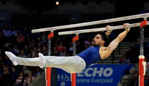 Louis Smith MBE on the parallel bars during the Artistic Gymnastics British Championships 2016 at the Echo Arena, Liverpool. PRESS ASSOCIATION Photo. Picture date: Saturday April 9, 2016. See PA story GYMNASTICS Liverpool. Photo credit should read: Nigel French/PA Wire. RESTRICTIONS: EDITORIAL USE ONLY, NO COMMERCIAL USE WITHOUT PRIOR PERMISSION, PLEASE CONTACT PA IMAGES FOR FURTHER INFO: Tel: +44 (0) 115 8447447.