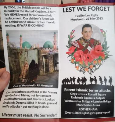 The leaflet distributed around homes in the Ravenhill Road area / Credit: Twitter/ @MegMog95