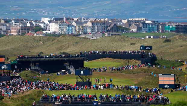 A view across the 6th and 8th greens during day three of The Open Championship 2019 at Royal Portrush Golf Club. PRESS ASSOCIATION Photo. Picture date: Saturday July 20, 2019. See PA story GOLF Open. Photo credit should read: David Davies/PA Wire. RESTRICTIONS: Editorial use only. No commercial use. Still image use only. The Open Championship logo and clear link to The Open website (TheOpen.com) to be included on website publishing.