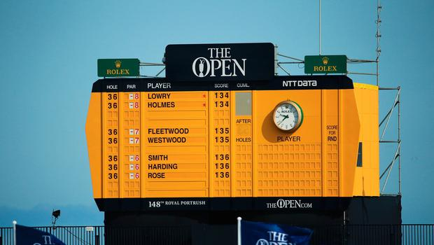 PORTRUSH, NORTHERN IRELAND - JULY 20: The scoreboard is pictured during the third round of the 148th Open Championship held on the Dunluce Links at Royal Portrush Golf Club on July 20, 2019 in Portrush, United Kingdom. (Photo by Andrew Redington/Getty Images)