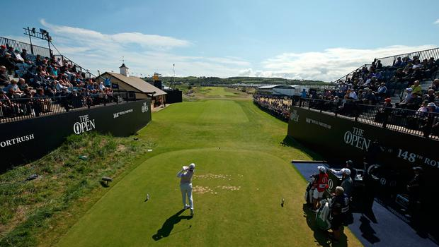 England's Callum Shinkwin tees off the 1st during day three of The Open Championship 2019 at Royal Portrush Golf Club. PRESS ASSOCIATION Photo. Picture date: Saturday July 20, 2019. See PA story GOLF Open. Photo credit should read: Niall Carson/PA Wire. RESTRICTIONS: Editorial use only. No commercial use. Still image use only. The Open Championship logo and clear link to The Open website (TheOpen.com) to be included on website publishing.