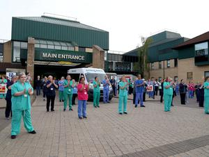 Staff from Antrim Area Hospital take part in tonight's Clap for Carers in support of the NHS and key workers who are at the front line in the fight against the Coronavirus pandemic in Northern Ireland.  Photo Pacemaker Press
