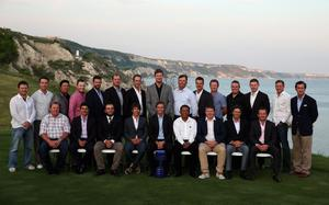 KAVARNA, BULGARIA - MAY 14:  (L-R front row) Carl Pettersson of Sweden; Felipe Aguilar of Chile; Francesco Molinari of Italy; Thorbjorn Olesen of Denmark; Nicolas Colsaerts of Belgium; Thongchai Jaidee of Thailand; George Coetzee of South Africa; Thomas Aiken of South Africa; Graeme McDowell of Northern Ireland (L-R back row) Richard Sterne of South Africa; Brett Rumford of Australia; Kiradech Aphibarnrat of Thailand; Branden Grace of South Africa; Scott Jamieson of Scotland; Peter Hanson of Sweden; Geoff Ogilvy of Australia; Chris Wood of England; Bo Van Pelt of the USA; Henrik Stenson of Sweden; Jamie Donaldson of Wales; Shane Lowry  of Ireland; Stephen Gallacher of Scotland; Ian Poulter; Gonzalo Fernandez-Castano pose for a group photograph following practice for the Volvo World Match Play Championship at Thracian Cliffs Golf & Beach Resort on May 14, 2013 in Kavarna, Bulgaria.  (Photo by Andrew Redington/Getty Images)