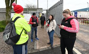 Workers walk off ABP site in Lurgan over concerns over Covid-19 measures on Wednesday, March 25th. PACEMAKER