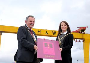 Belfast Lord Mayor Councillor Nuala McAllister and Mayor of Derry City and Strabane District Council Councillor Maoliosa McHugh at the launch of the European Capital of Culture 2023 bid