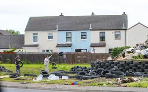 Credit - Kevin Scott / Belfast Telegraph  Belfast, UK - July 07 , Tyres on the Ballybeen Bonfire in Dundonald on July 07, 2016 ( Photo by Kevin Scott / Belfast Telegraph)