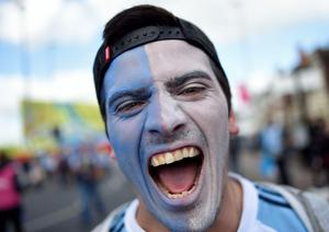 An Argentina fan poses for a photograph as they arrive at the Kingsholm stadium ahead of the a Pool C match of the 2015 Rugby World Cup between Argentina and Georgia in Gloucester, west England on September 25, 2015.     AFP PHOTO / LOIC VENANCELOIC VENANCE/AFP/Getty Images