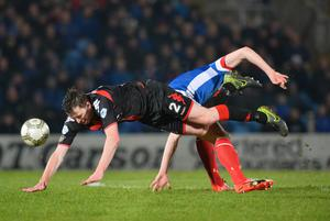 PACEMAKER BELFAST  07/02/2017 Linfield v Crusaders Co Antrim Shield Final LinfieldÕs Stephen Lowry   and Crusaders BJ Burns  during this evenings final at warden Street in Ballymena. Photo Colm Lenaghan/Pacemaker Press