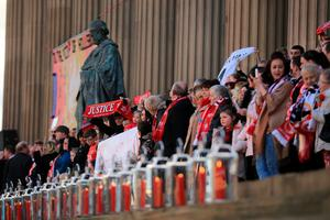 LIVERPOOL, ENGLAND - APRIL 27:  96 candles in memory of the victims burn on the steps outside Liverpool's Saint George's Hall as thousands of people gather to attend a vigil for the 96 victims of the Hillsborough tragedy on April 27, 2016 in Liverpool, England. The civic commemoration event marks the outcome of the fresh inquests into the 1989 Hillsborough disaster, in which 96 football supporters were crushed to death, and concluded yesterday with a verdict of unlawful killing. Relatives, Liverpool supporters and members of the public are taking part in the vigil at St George's Hall where a candle is lit for each of the 96 victims who lost their lives during a crush at the Hillsborough football ground in Sheffield, South Yorkshire in 1989..  (Photo by Christopher Furlong/Getty Images)