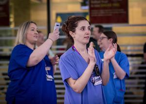 A piper plays for NHS staff at the RVH in Belfast as Northern Ireland claps for the NHS  on April 23rd 2020 (Photo by Kevin Scott for Belfast Telegraph)