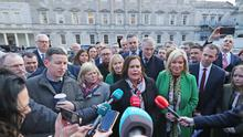 Sinn Fein leader Mary Lou McDonald speaks to the media as the newest members of the Sinn Fein Parliamentary Party meet for the first time at Leinster House in Dublin (Niall Carson/PA)