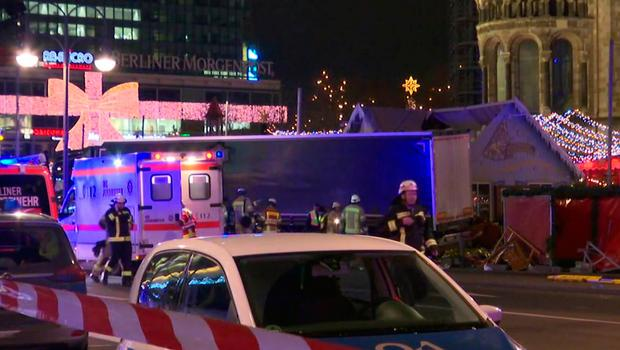 In this screen grab taken from video, emergency services attend the scene, after an attack by a truck at a Christmas market, in Berlin, Monday, Dec. 19, 2016. German media are reporting a truck has run into a crowded Christmas market in the center of Berlin, causing multiple injuries. Both the Berliner Zeitung newspaper and the Berliner Morgenpost reported the truck ran into the market outside the landmark Kaiser Wilhelm Memorial Church on Monday evening. (AP)
