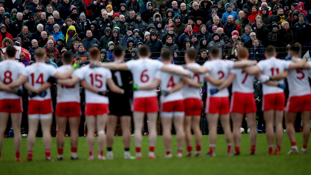 Brothers in arms: Tyrone players ahead of their clash against Kerry which was moved to Edendork