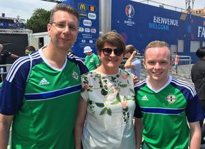 First Minister Arlene Foster joins Northern Ireland fans  in Nice ahead of their opening Euro 2016 game against Poland on Sunday.