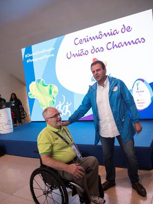 RIO DE JANEIRO, BRAZIL - SEPTEMBER 06: Sir Philip Craven, IPC President, and Eduardo Paes, Rio de Janeiro City Mayor at the Paralympic Flame Ceremony on September 5, 2016 in Rio de Janeiro, Brazil. (Photo by Raphael Dias/Getty Images for the International Paralympic Committee)