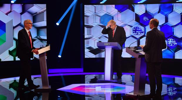 Boris Johnson and Jeremy Corbyn go head to head in the BBC Election Debate in Maidstone (Jeff Overs/BBC/PA)