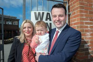 Colum Eastwood at the Polling Station Derry in the Northern Ireland Assembly Election on Thursday. He was accompanied by his wife Rachael and daughter Rosa. Pacemaker