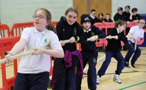 Press Eye - Belfast -  Northern Ireland - 20th April 2018 - Photo by William Cherry/Presseye  Over 1,400 school children from local primary and secondary schools take part in over 35 demonstration sports during the Department for Communities annual Celebration of Sport event at Bangor Aurora Leisure complex today.