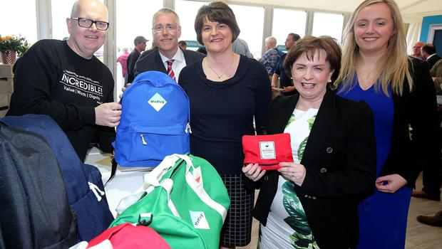 Press Eye - Belfast - Northern Ireland - 18th May 2018  Third day of the 2018 Balmoral Show, in partnership with Ulster Bank, at Balmoral Park.  Dave Lindon and Deborah from Madlug pictured with Richard Donnan - Head of Northern Ireland at Ulster Bank, DUP MEP Diane Dodds, DUP leader Arlene Foster and Lynsey Cunningham Regional Director, Entrepreneurship at Ulster Bank.  Madlug was one of the companies provided with free space by Ulster Bank to exhibit in its marquee. The companies include Ulster Bank customers and entrepreneurs from the bank's Entrepreneur Accelerator.  Picture by Jonathan Porter/PressEye