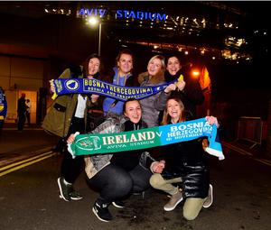 DUBLIN, IRELAND - NOVEMBER 16:  Bosnia fans pose for pictures before the Euro 2016 play-off second leg match between the Republic of Ireland and Bosnia-Herzegovina at Aviva Stadium on November 16, 2015 in Dublin, Ireland.  (Photo by Charles McQuillan/Getty Images)
