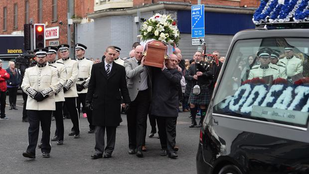 Funeral in east Belfast for murdered loyalist Ian Ogle. Mr Ogle was murdered by a loyalist gang close to his house in Cluan Place last Sunday night. Photo Colm Lenaghan/Pacemaker Press