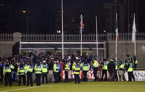 Setanta Sports Cup Quarter-Final 1st Leg, Tallaght Stadium, Dublin 4/3/2013 Shamrock Rovers vs Linfield The Union Jack is raised by Linfield supporters Mandatory Credit ©INPHO/Donall Farmer