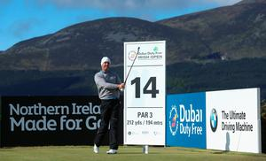 NEWCASTLE, NORTHERN IRELAND - MAY 29:  Padraig Harrington of Ireland tees off on the 14th hole during the Second Round of the Dubai Duty Free Irish Open Hosted by the Rory Foundation at Royal County Down Golf Club on May 29, 2015 in Newcastle, Northern Ireland.  (Photo by Andrew Redington/Getty Images)