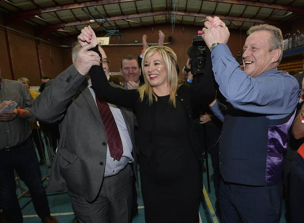 Michelle O'Neill pictured after topping the poll in Mid Ulster with 10258 votes. Photo by Stephen Hamilton / Press Eye.