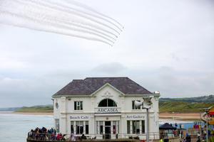 The RAF Red Arrows at the Air Waves Portrush, Northern Ireland International Airshow. Organised by Causeway Coast and Glens Borough Council, over 100,000 spectators descended upon Portrush's eastern shoreline for two days of flying displays by some of the world's most famous aviation attractions. ( Photo by Kevin Scott / Presseye )
