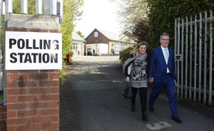 UUP Leader Mike Nesbitt and wife Lynda at Gilnahirk Primary School to make his vote on polling day. Picture Mark Marlow/pacemaker press