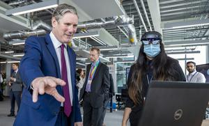 Labour leader Sir Keir Starmer during the visit (Peter Byrne/PA)