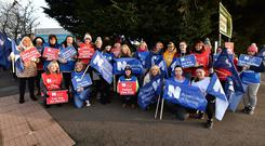 Nurses strike at the Ulster Hospital on Wednesday. Photo Colm Lenaghan/ Pacemaker Press