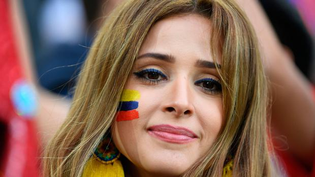 A Colombia fan waits for the start of the Russia 2018 World Cup round of 16 football match between Colombia and England at the Spartak Stadium in Moscow on July 3, 2018.