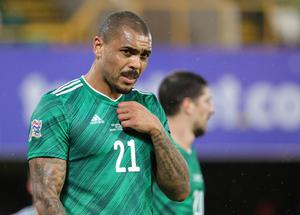 Pacemaker Belfast 18-11-20 Northern Ireland v Romania - UEFA Nations League Northern Ireland's Josh Magennis  during this evening's game at the National Stadium, Belfast.  Photo by David Maginnis/Pacemaker Press