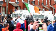 Rioting breaks out on the Oldpark Road in north Belfast after police stopped a controversial anti-interment rally from proceeding to the city centre. Pic: Kevin Scott / Presseye.