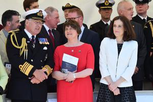 Pacemaker Press 31/5/2016 First Minister Arlene Foster and Secretary of State Theresa Villiers  during The commemoration at HMS Caroline on the centenary of the Battle of Jutland, as Belfast hosts a special all-island commemoration for Irish sailors who died in World War One. Pic Colm Lenaghan/Pacemaker