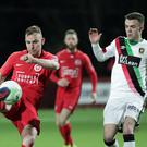 Pacemaker Belfast 25-1-20 Larne v Glentoran - Danske Bank Premiership Larne's Andrew Mitchell during this evening's game at Inver Park, Larne. Photo by David Maginnis/Pacemaker Press