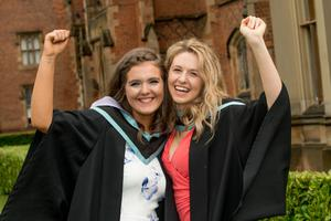 Olivia Rue and Claire Rattray celebrate graduation success as they both graduate with a degree in Primary Education from Stranmillis University College of Queens University Belfast