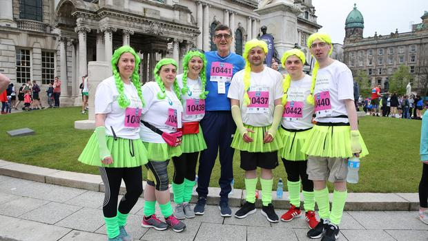 Press Eye - Belfast - Northern Ireland - 7th May 2018  -   37th Deep RiverRock Belfast City Marathon   Runners from Southern Area Hospice  pictured at the marathon at Belfast City Hall.  Photo by Kelvin Boyes / Press Eye