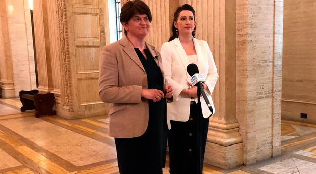 DUP leader Arlene Foster with Emma Little-Pengelly at Stormont yesterday